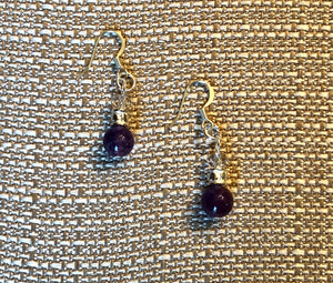 Amethyst, Swarovski Crystal & Bali Silver Earrings