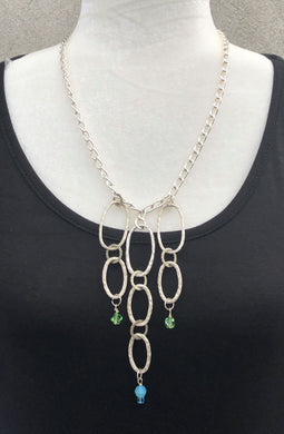 Swarovski Crystal & Triple Row Silver Link Necklace
