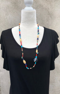"33"" Long Mixed Bead Boho Necklace"