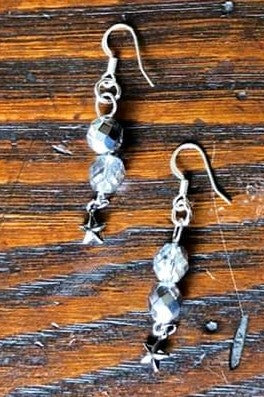Silver Czech Glass & Gunmetal Star Earrings