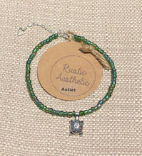 Iridescent Sea Green Japanese Seed Bead Turtle Anklet