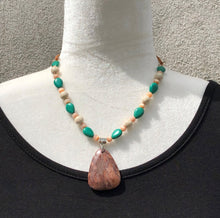 Mocha Agate, Jade & Peach Necklace
