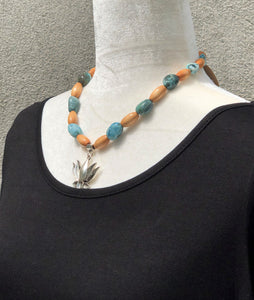 Turquoise Moss Agate & Wood Lotus Necklace