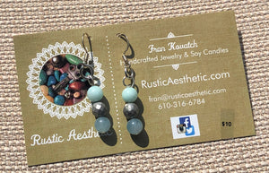 Amazonite, Hematite, Blue Jade & Silver Earrings