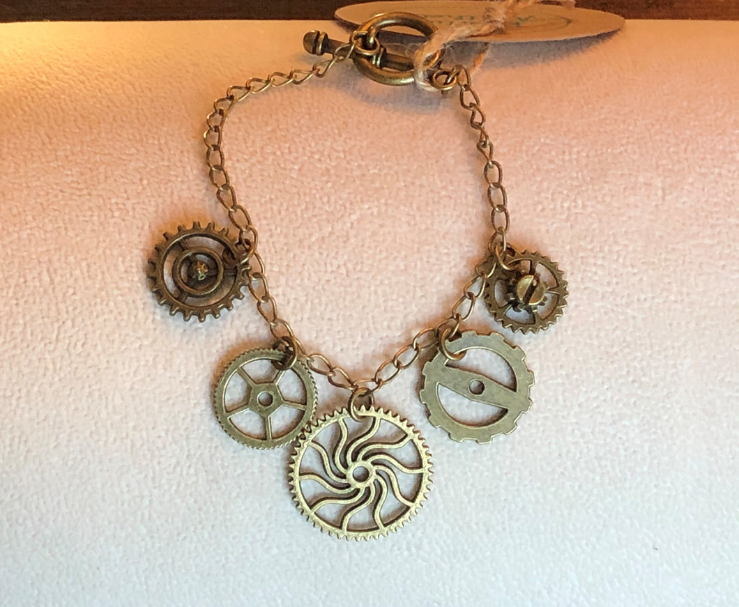 Antique Brass Five Gear Charm Bracelet
