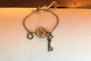 Antique Brass Key & Gear Bracelet