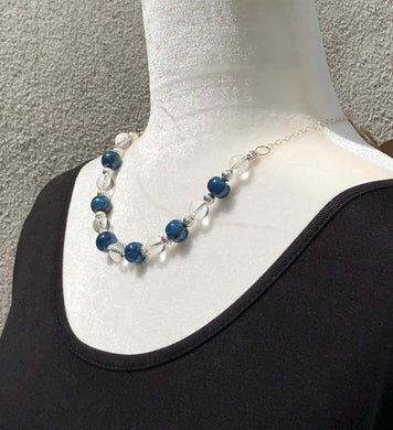 Apatite, Crystal Quartz & Silver Necklace