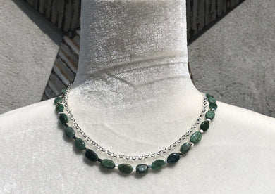 Double Strand Aventurine & Silver Plate Necklace