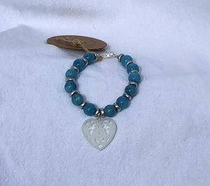 Aquamarine & Silver Czech Glass Bracelet