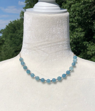 Natural Aquamarine & Silver Necklace