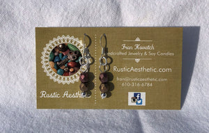 Berry & Chocolate Czech Glass & Silver Double Earrings