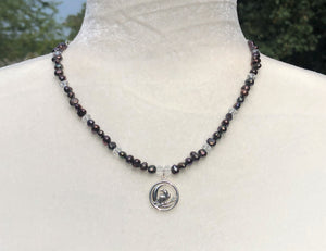 Black Freshwater Pearl, Swarovski Crystal, Sterling Silver Raven & Sickle Moon Necklace