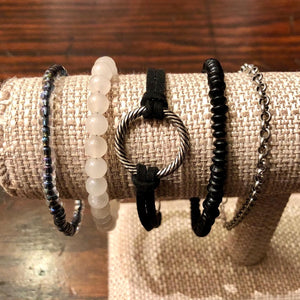 Black White & Silver Stackable Bracelet Set of 5