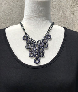 Black Marbled & Silver Link Necklace