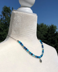 Ocean Blue Stripe Agate & Silver Ancient Sun Necklace