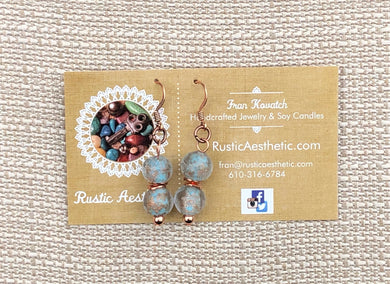 Capri Blue & Copper Lampworked Glass & Copper Bead Double Bead Earrings