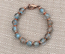 Capri Blue & Copper Lampworked Glass and Copper Bead Bracelet