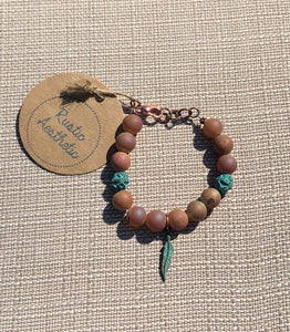 Caramel Druzy Agate & Feather Patina Copper Bracelet