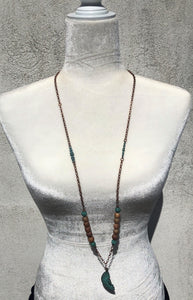 Caramel Druzy Agate, Patina Half Sun & Copper Necklace