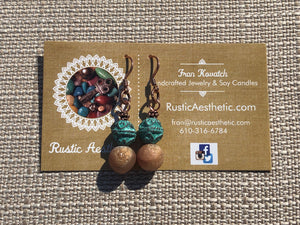 Caramel Druzy Agate & Round Patina Copper Earrings
