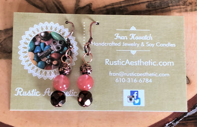 Cherry Quartz, Chocolate Czech Glass & Copper Earrings