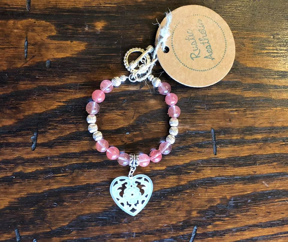 Cherry Quartz, Silver & Frosted Carved Heart Bracelet