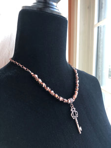 Chocolate Faceted Czech Glass & Copper Key Necklace