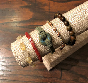 Citrine, Carnelian,  Porcelain, Faux Leather, Metallic Seed Bead & Rose Wood Stackable Bracelet Set