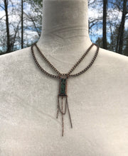 Teal Birds in Branches, Crystal & Copper New Victorian Necklace