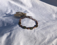 Picasso Czech Glass, Copper Bead & Copper Chain Bracelet