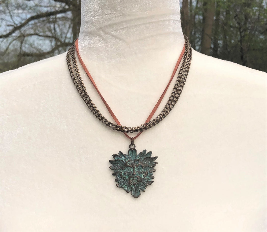 Patina Copper Green Man, Faux Leather & Copper Necklace