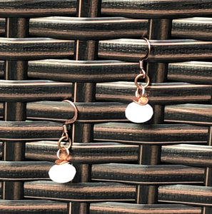 Moonstone Czech Glass & Shiny Wavy Copper Earrings