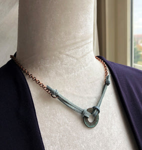 Copper Coin & Dusty Blue Leather Necklace