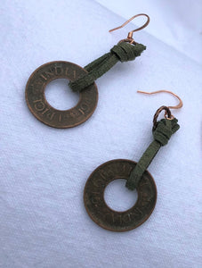 Copper Coin & Loden Green Leather Earrings