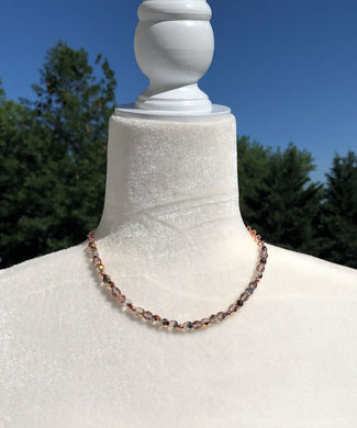 Fire Polished Copper Czech Glass & Copper Necklace