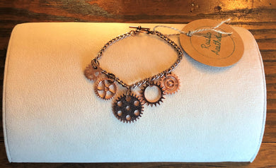 Copper Five Gear Charm Bracelet