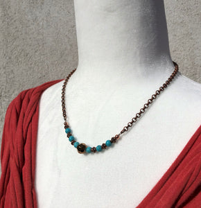 Copper, Glass & Turquoise Necklace