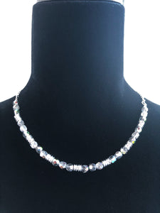 Crystal Aurora Borealis Czech Glass & Silver Ribbon Necklace