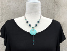 Lapis Blue, Turquoise Magnesite & Crystal Quartz Necklace