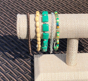 Bronze Czech Glass, Blonde Wood, Teal, Silver & Seed Bead Stackable Bracelet Set