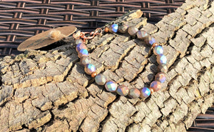 Iridescent Czech Glass and Copper Bracelet