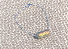 Dichroic Crystal Czech Glass & Silver Drawn Chain Bracelet