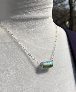 Dichroic Crystal Czech Glass & Silver Drawn Chain Necklace