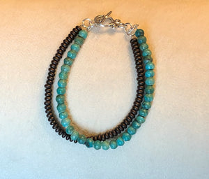 Double Strand Turquoise & Bronze Czech Glass Bracelet