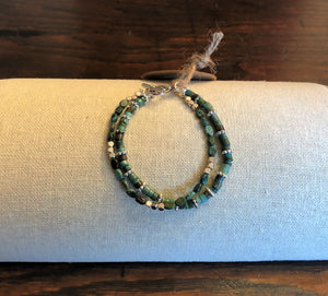 Double Strand Rondelle & Oval Turquoise & Silver Bracelet