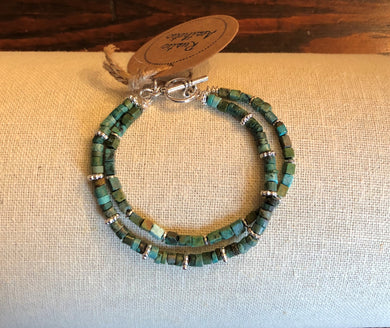 Double Strand Rondelle & Square Turquoise & Silver Bracelet
