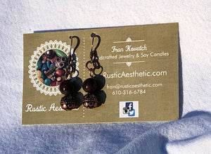 Dragon Blood Jade Jasper & Copper Bali Earrings