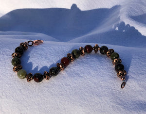 Dragon Blood Jade Jasper & Floral Copper Bracelet