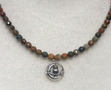 Red Creek Jasper, Sterling Silver Owl & Sickle Moon Necklace