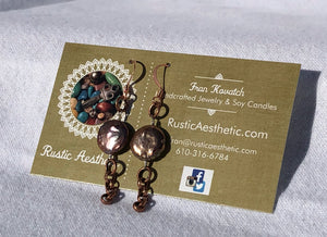 Fresh Water Coin Pearl & Copper Chain Earrings